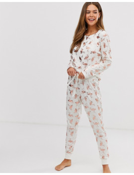 Chelsea Peers White And Rose Gold Foil Flamingos Trouser Pyjama Set by Chelsea Peers