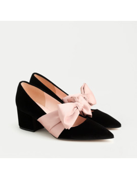 Laney Pumps With Bow In Velvet by J.Crew