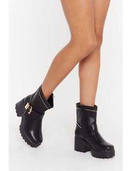 Zip Town Faux Leather Biker Boots by Nasty Gal