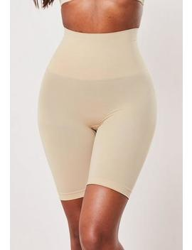 Nude Mid Thigh Bum Lift Control Knickers by Missguided