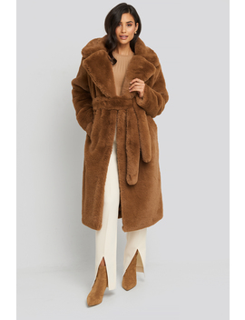 Soft Faux Fur Long Coat Bruin by Na Kd Trend