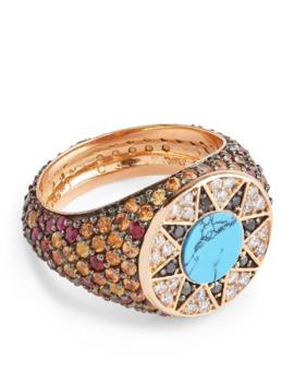 Diamond, Ruby And Sapphire Cosmic Love Ibiza Ring by L'atelier Nawbar