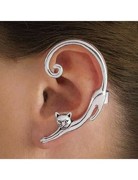 1 Pc Gothic Punk Silver Gold Cat Ear Cuff For Women Jewelry Trendy Helix Cat Bite Fake Clip On Wrap Upper Earings Shellhard by Ali Express.Com