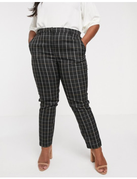 Vero Moda Curve Checked Tapered Trousers by Vero Moda