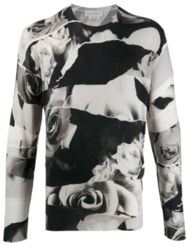 Pullover Mit Rosen Print by Alexander Mc Queen
