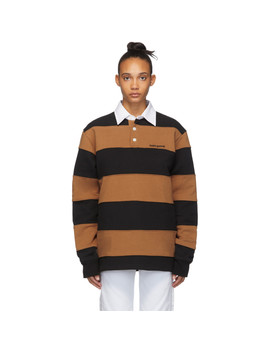 Brown & Black Fleece Fielders Rugby Polo by Noon Goons