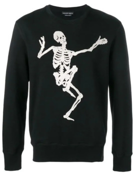 Sweatshirt Mit Totenkopf Stickerei by Alexander Mc Queen