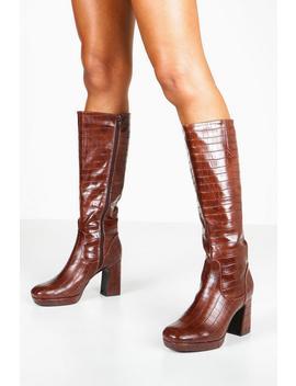 Croc Block Heel Platform Knee High Boots by Boohoo