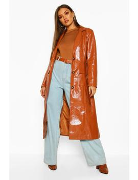 Pu Belted Trench Coat by Boohoo