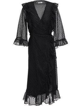 Jasmine Ruffled Flocked Gauze Midi Wrap Dress by Ganni