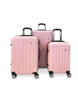 Todo Ultra Light Luggage Set 3pcs Hard Shell Combination Locks Pink by Todo