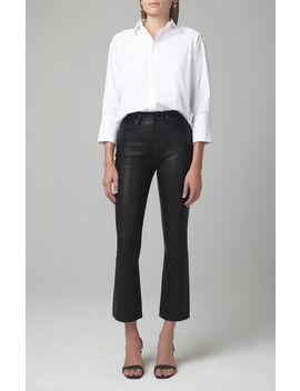 Demy Leather Cropped Flare In Black by Citizens Of Humanity