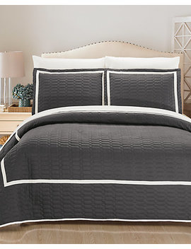 Chic Home 3pc Halrowe Hotel Collection Geometric Embroidered Quilt Set by Chic Home