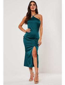 Teal Satin Halter Neck Midi Dress by Missguided