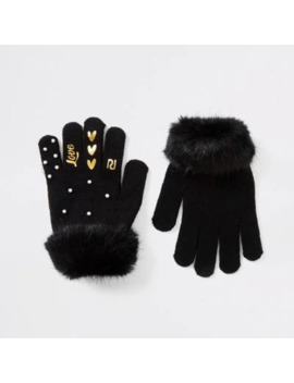 Girls Black Pearl Faux Fur Trim Gloves by River Island