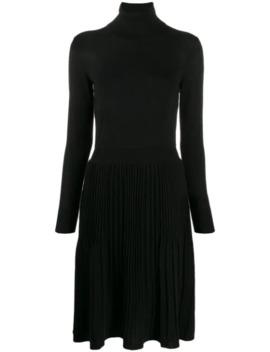 Pleated Turtleneck Dress by Calvin Klein