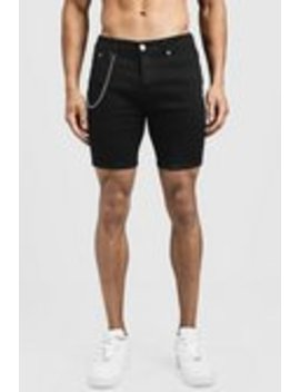 Skinny Fit Denim Shorts With Chain Detail by Boohoo Man