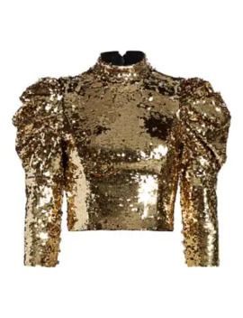 Brenna Sequin Puff Sleeve Crop Top by Alice + Olivia