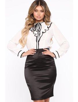 Keep It Professional Long Sleeve Top   White/Black by Fashion Nova