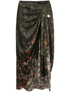 Draped Camouflage Print Skirt by Mother Of Pearl