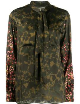 Camouflage Floral Print Shirt by Mother Of Pearl
