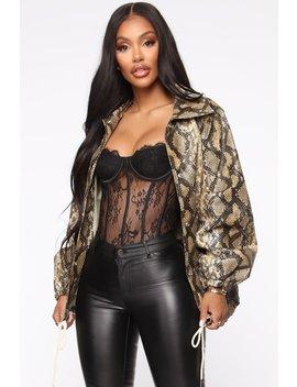 Snake You Down Pu Leather Jacket   Taupe/Combo by Fashion Nova