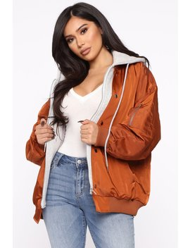 Taking Action Double Layer Jacket   Rust by Fashion Nova