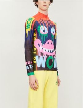 Dripping Monster Bike Printed High Neck Jersey Top by Walter Van Beirendonck