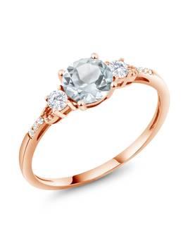 0.89 Ct Round Sky Blue Aquamarine White Created Sapphire 10 K Rose Gold Ring by Gem Stone King