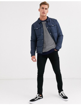 Selected Homme Two Pocket Padded Coach Jacket In Navy by Selected Homme
