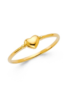 Womens 14 K Solid Yellow Gold Small Heart Band Fancy Ring, Size 8.5 by Paradise Jewelers