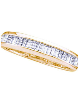 14kt Yellow Gold Womens Baguette Diamond Wedding Anniversary Band Ring 1/6 Cttw by The Jewelry Master