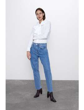 Poplin Blouse With Tied Collar View All Shirts by Zara