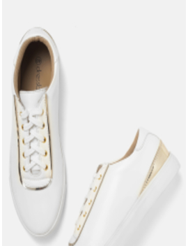 Women White Solid Sneakers by Dress Berry