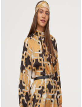Women Stand Up Collar Satin Dress by H&M