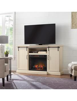 Chastain 68 In. Freestanding Media Console Electric Fireplace Tv Stand With Sliding Barn Door In Ivory by Home Decorators Collection