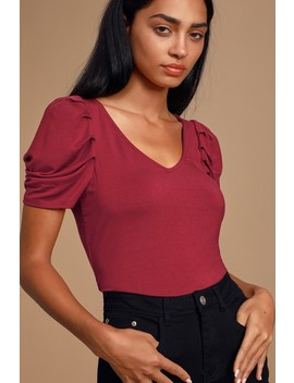 Esme Wine Red Puff Sleeve Top by Lulus