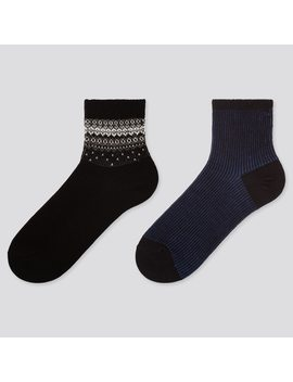 Women Heattech Fair Isle Print Socks (Two Pairs) by Uniqlo