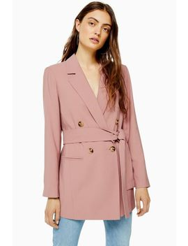 Dusty Pink Belted Twill Blazer by Topshop