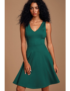 Bon Appetit Forest Green Skater Dress by Lulus