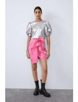 Shiny Mini Skirt With Bow by Zara