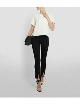 Nwt $590 The Row Thilde Straight Leg Ankle Textured Crepe Pants In Black Sz S by The Row
