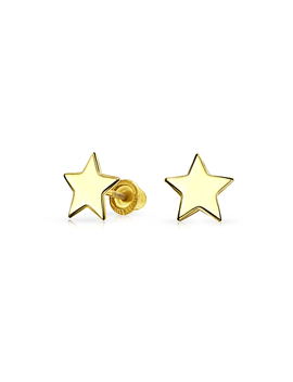 Tiny Minimalist Celestial Usa Patriotic Rock Star Stud Earrings For Women For Teen Real 14 K Yellow Gold Screwback by Bling Jewelry