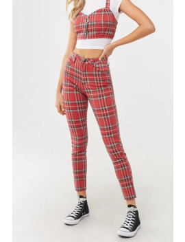 Plaid Skinny Jeans by Forever 21