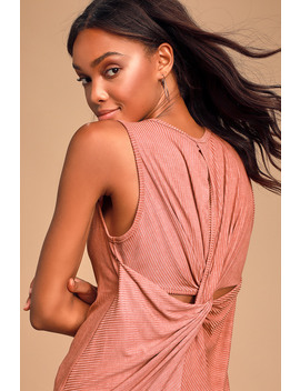 Nalani Rusty Rose Ribbed Twist Back Tank Top by Lulus