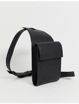 Bolso Tipo Arnés Para La Pierna De Efecto Cuero En Negro Granulado De Asos Design by Asos Design