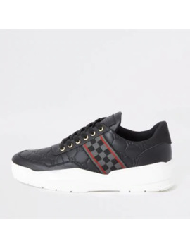Black Check Tape Chunky Runner Trainers by River Island