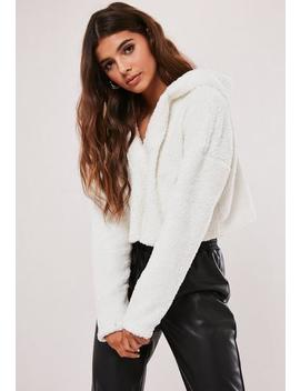 Tall Cream Borg Teddy V Front Cropped Hoodie by Missguided