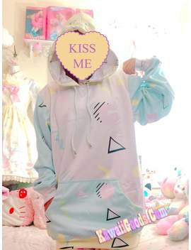 Geometric Inspire Barbie 90s Yume Kawaii Hoodie Sweater, Kawaii Sweater, Pastel Sweater by Etsy