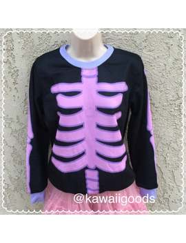 Pastel Goth Sweater (Black), Skeleton Sweater, Sweater, Kawaii Sweater, Pastel Sweater by Etsy